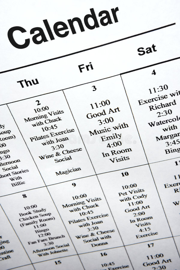 Close-up of calendar of events. royalty free stock photos