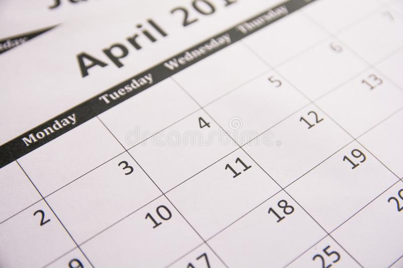 Close up calendar of page April background, Tax season.  royalty free stock photo