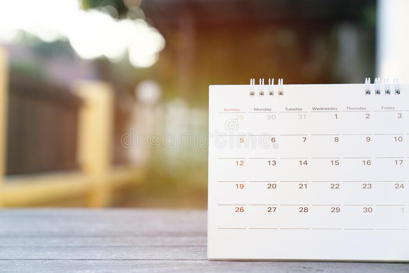Calendar on the table for planner,business,organization,management schedule, calender concept royalty free stock image