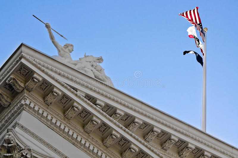 Close Up Of California State Capitol Building. The side of the state Capitol building in Sacramento, California royalty free stock photo