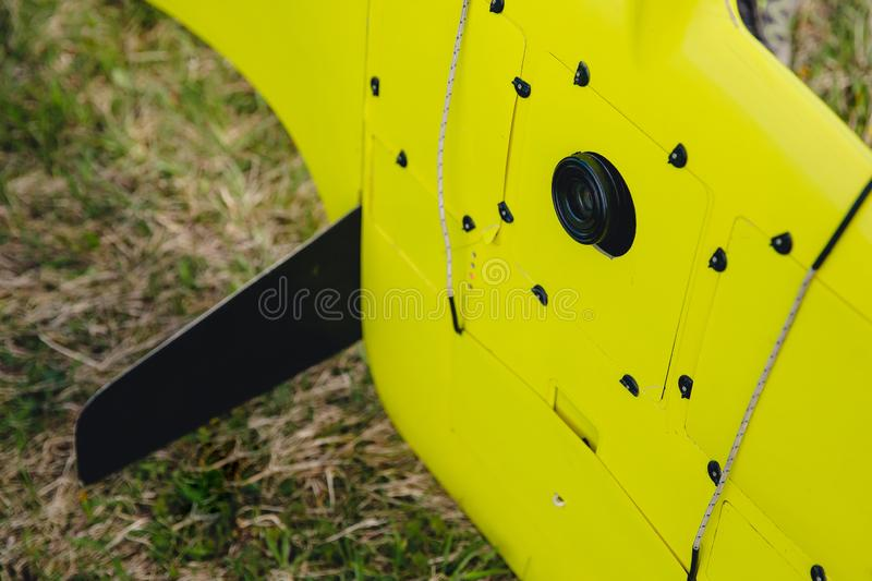 Close-up camera for cartography and agriculture on electric drone airplane royalty free stock images