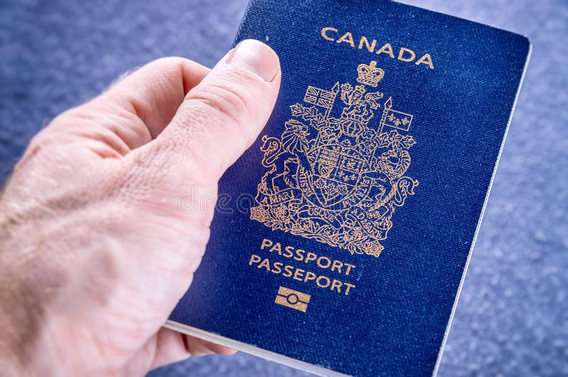Close up of Canadian passport royalty free stock photo
