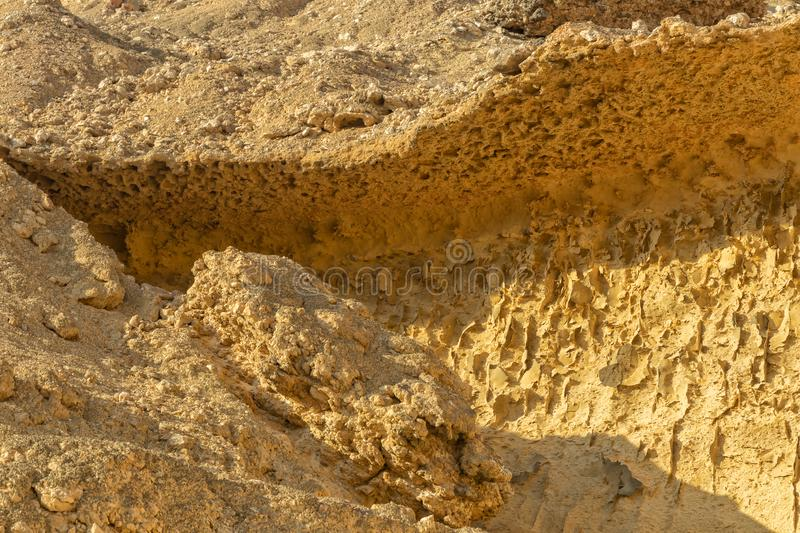 Close up of canyon wall in Namibe Desert. Africa. Angola. With erosion marks stock photography