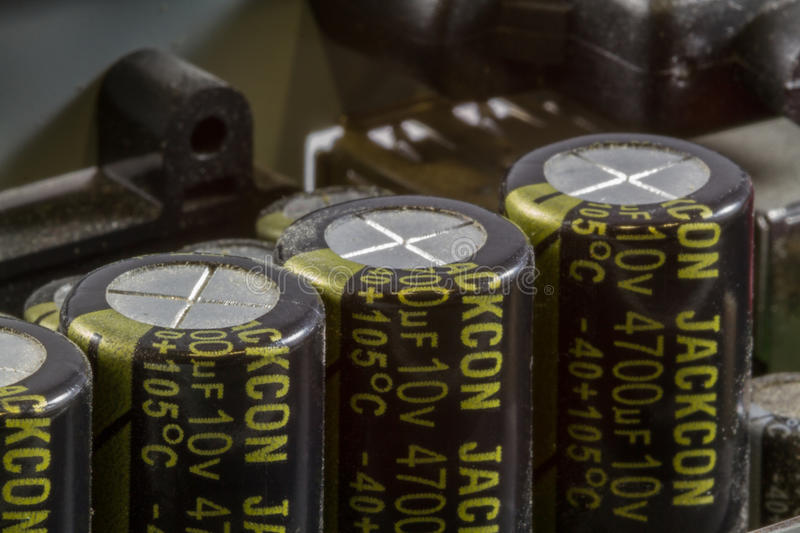 Close up of Capacitors on Printed Circuit Board stock image