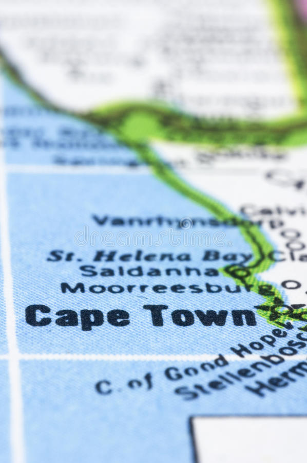 Download Close Up Of Cape Town On Map, South Africa Stock Image - Image: 24485349