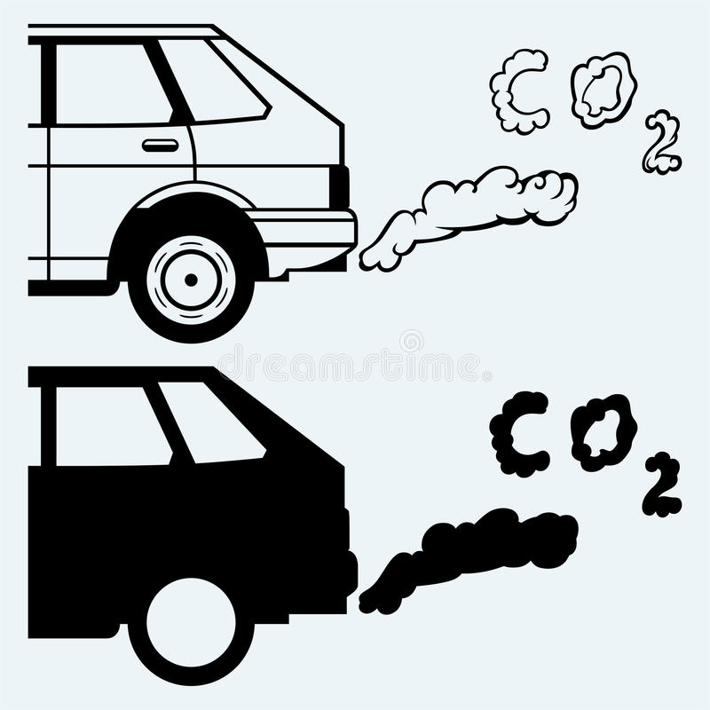 Close up of a car's fumes emissions in the traffic jam. Isolated on blue background vector illustration