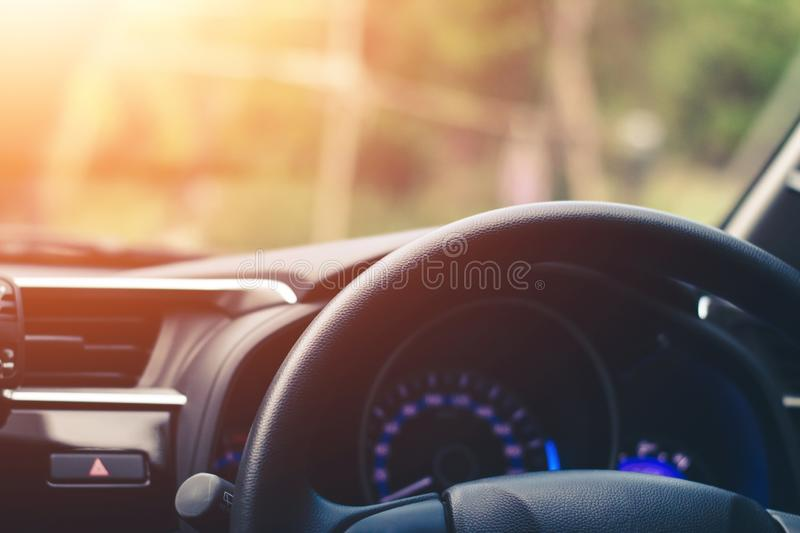 Close up, Car steering wheel at the driver`s seat royalty free stock photo