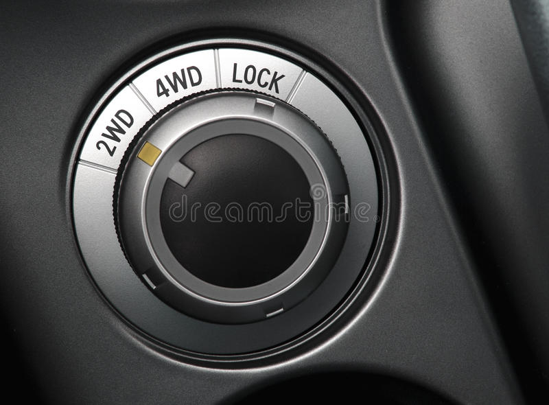 Close up of a car wheel drive control selector stock photos