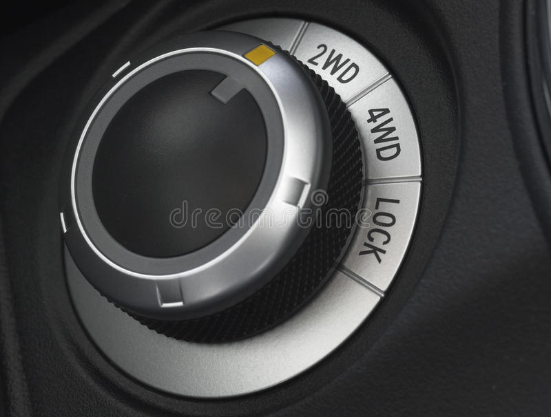 Close up of a car wheel drive control selector royalty free stock photo
