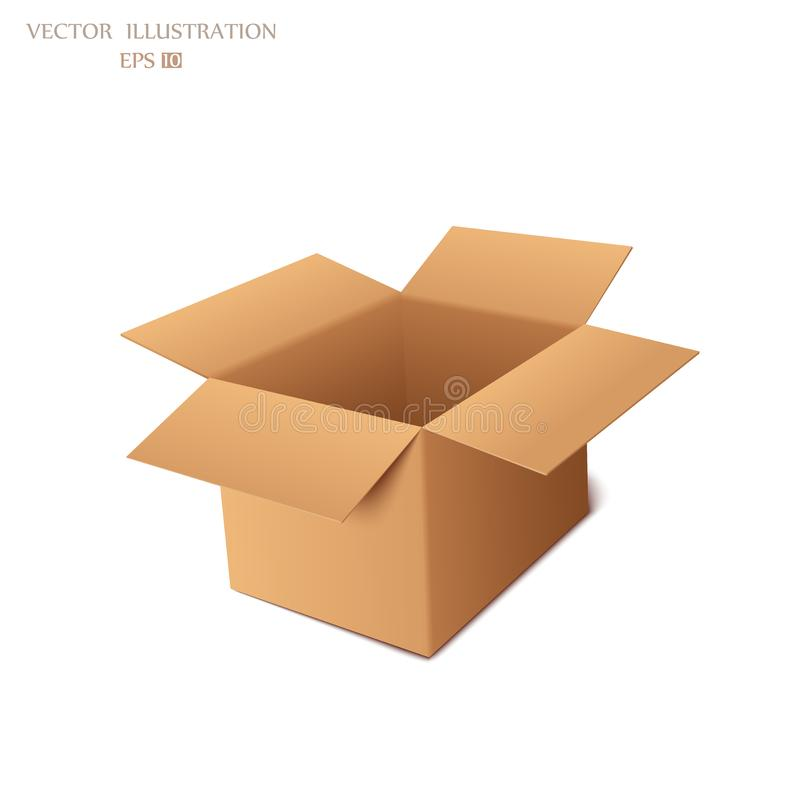 Cardboard box. Close-up of cardboard boxes with recyclable symbol against white background. Illustration modern template design vector illustration