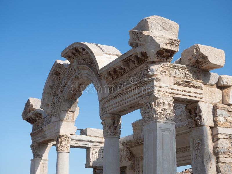 Close Up of the Carved Arch of the Temple of Hadrian at Ephesus Turkey stock photography