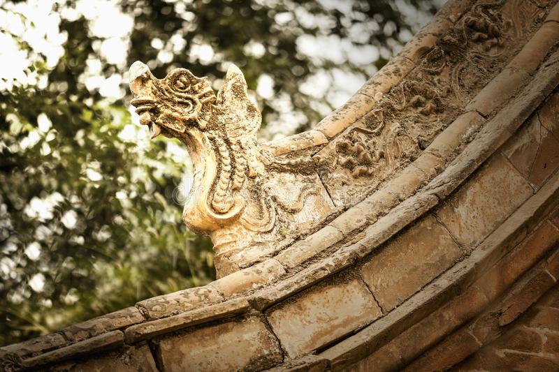 Close-up of carvings on the roof of the pagoda, day, Shanxi Province, China stock image