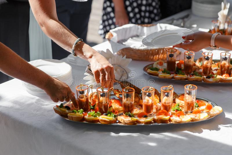 Close up catering buffet table with a delicious food royalty free stock photos
