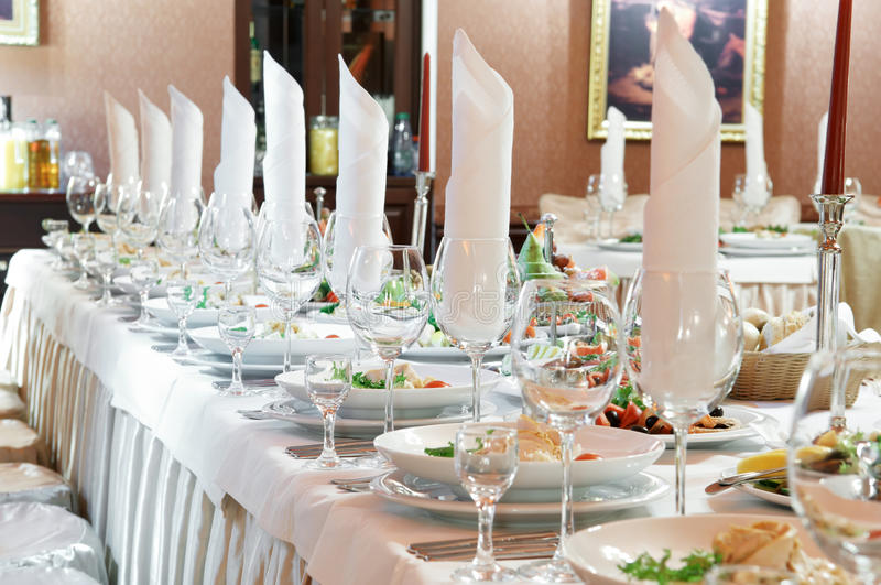 Close-up catering table set royalty free stock photography