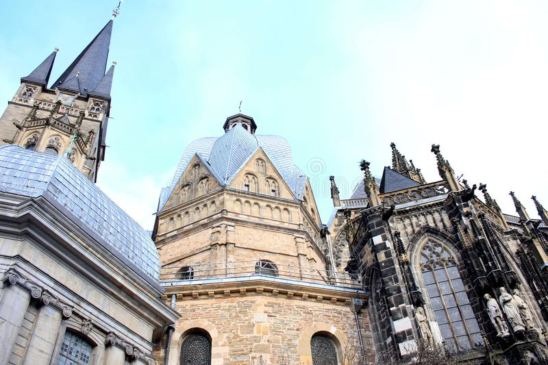 Close Up of the Cathedral in Aachen, Germany Marienkirche. A close up of the cathedral in Aachen, Germany. Der Aachener Dom or the cathedral of Aachen is a Roman stock photography