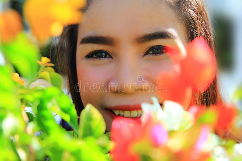 Close up,caucasian portrait beautiful young woman smiling and relaxing royalty free stock photos