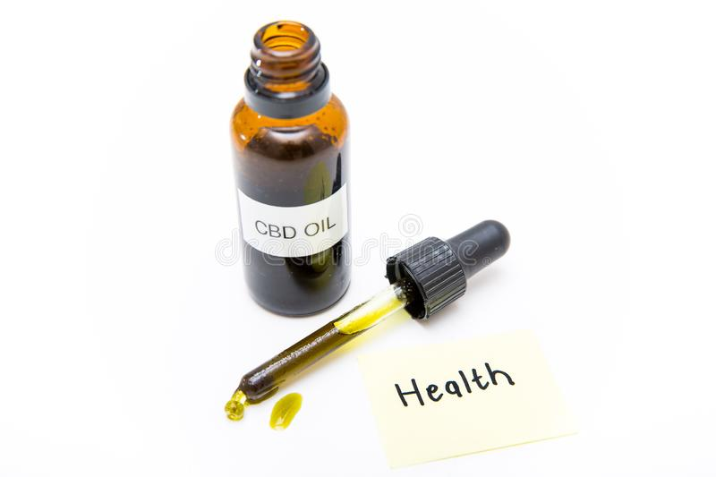 CBD cannabidiol oil to improve health, no THC, CBD hemp oil on a white background stock images