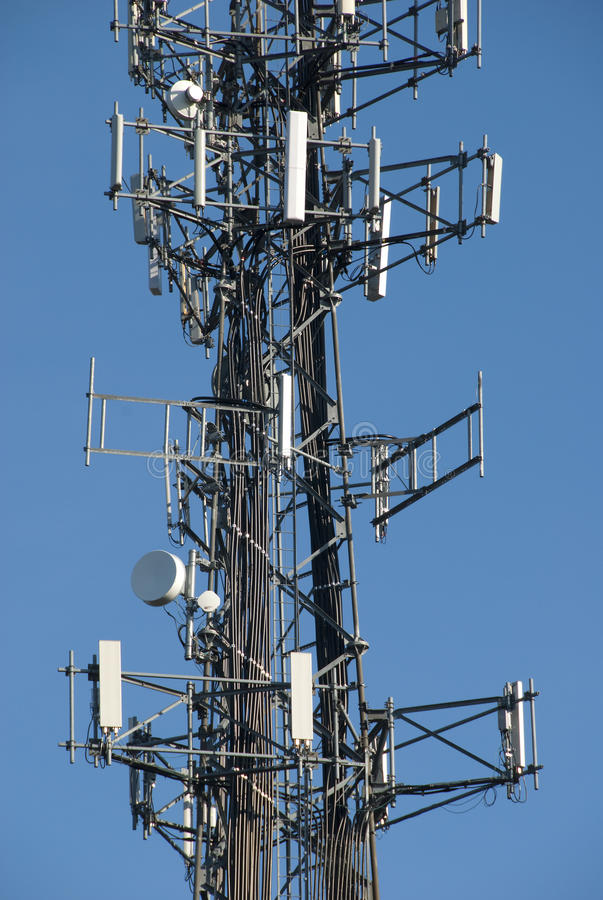 Close up of cell tower stock image