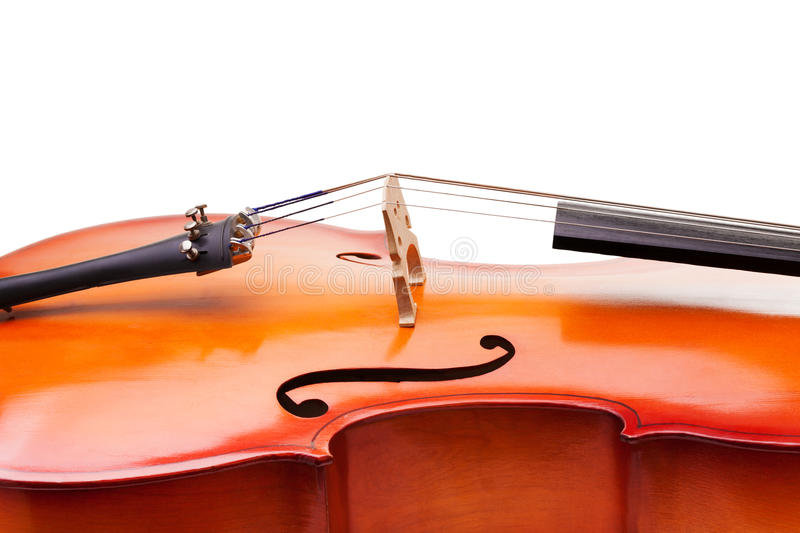 Close-up of cello fragment with bridge and F-holes stock photos