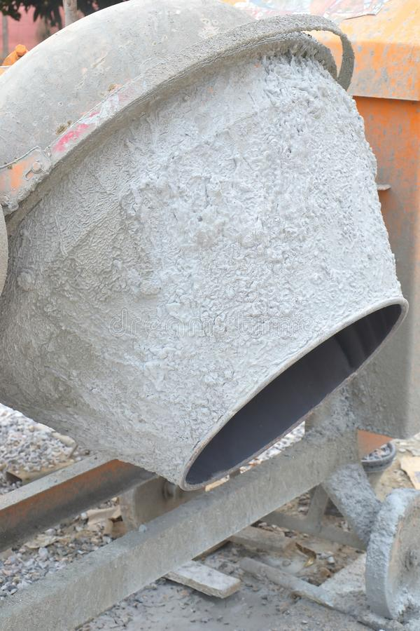 Cement or concrete mixer. Close up of cement or concrete mixer, construction, equipment, site, industry, machine, work, building, metal, small, tool, iron royalty free stock photography