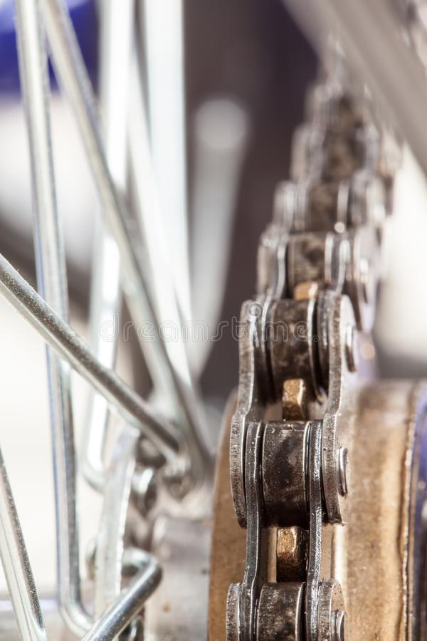 Chain and sprocket of bicycle royalty free stock photography