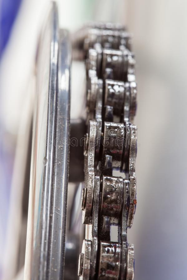Chain and sprocket of bicycle royalty free stock photo