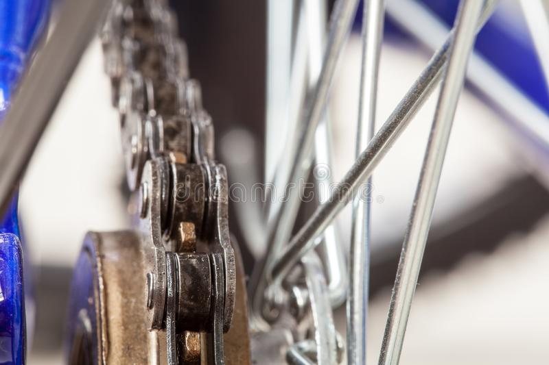 Chain and sprocket of bicycle stock images