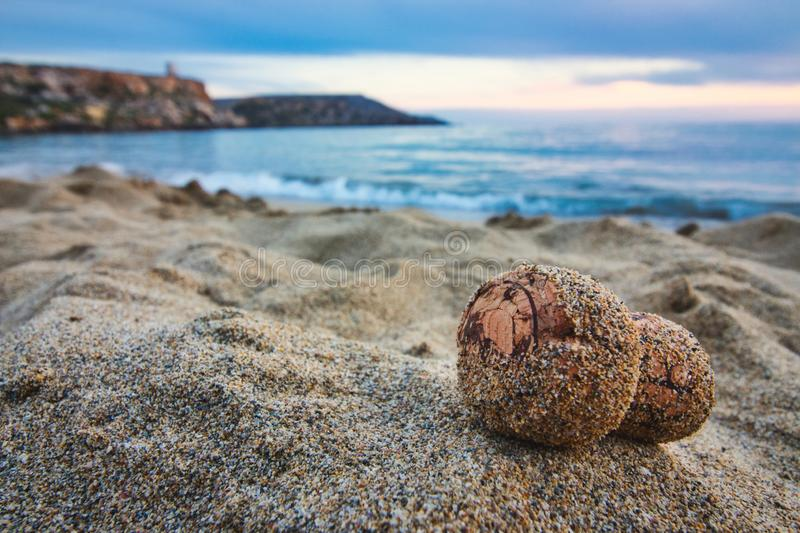 Close-up of champagne cork on a sandy beach with the sea in the background royalty free stock photo