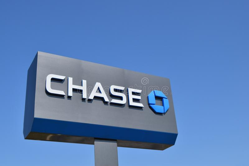 Close up of Chase sign and logo on the facade of a JP Morgan Chase bank branch. stock photo