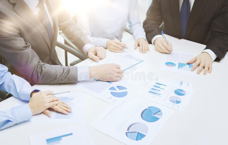 Close up of chats and graphs in office royalty free stock image