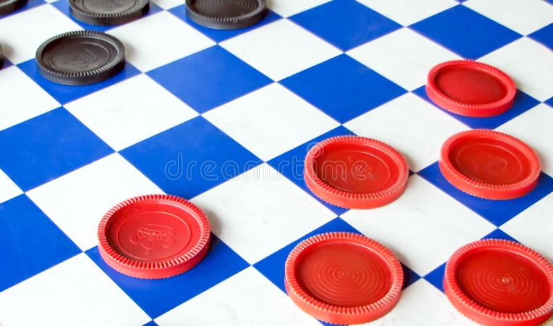 Close up of a checkers board stock photography