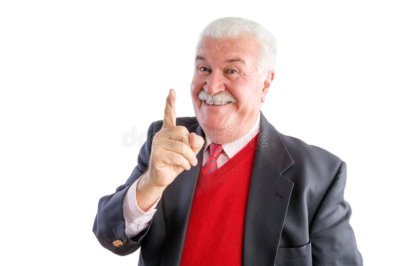 Close up of cheeky senior wearing a business suit stock photos