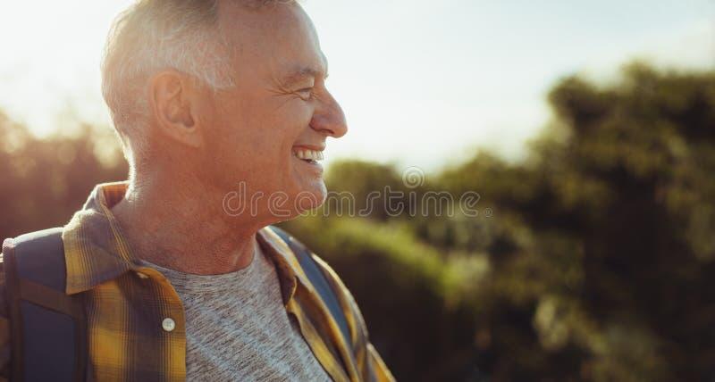 Close up of a cheerful senior man stock photo