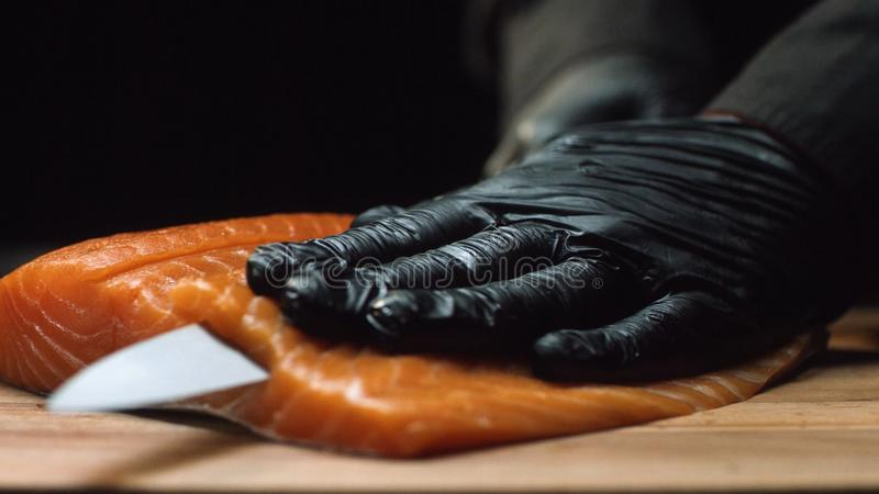 Close-up chef with piece of red salmon. Professional chef in black gloves holds piece of fresh salmon and is ready to royalty free stock photo