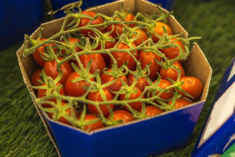Close-up of box with cherry tomatoes.  royalty free stock photo