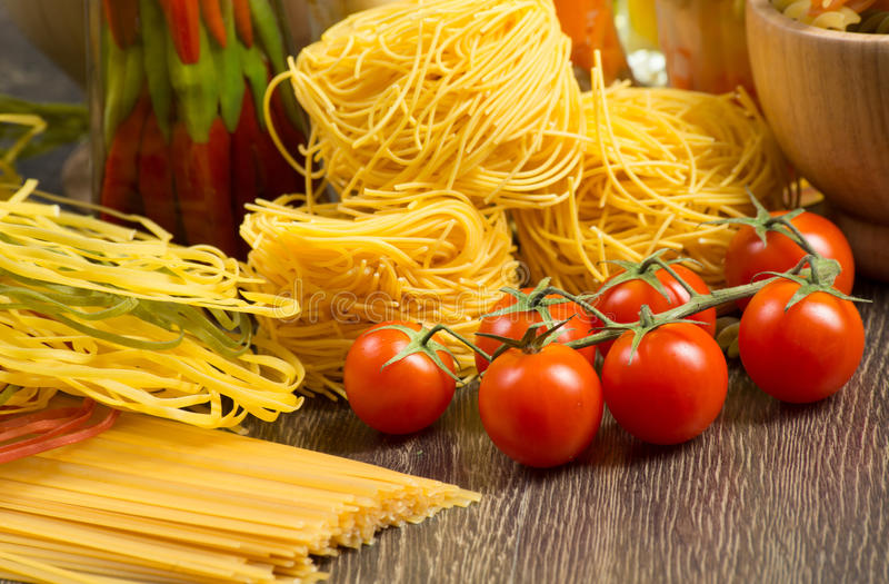 Close-up of cherry tomatoes and pasta stock image