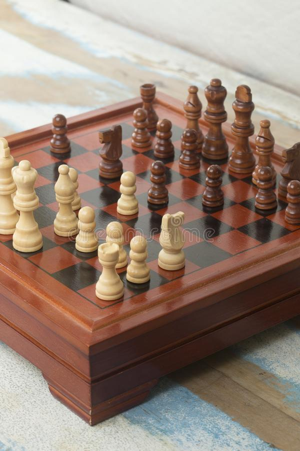 Chessboard with match in progress. Close-up of chessboard with match in progress stock photography