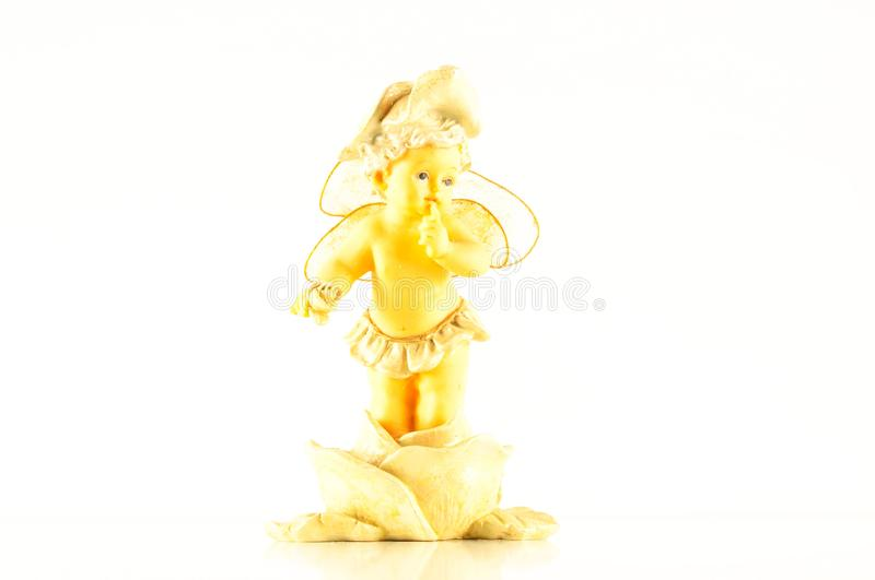 Close-up of child angel statuette. Object on a White Background stock image