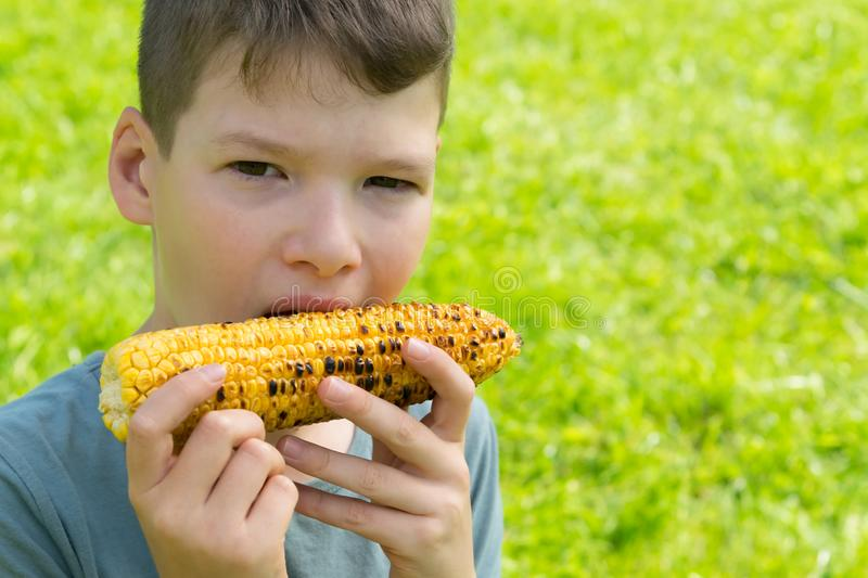 Close-up, child boy, eating baked corn on the cob, against a background of green grass, there is a place for inscription royalty free stock photo