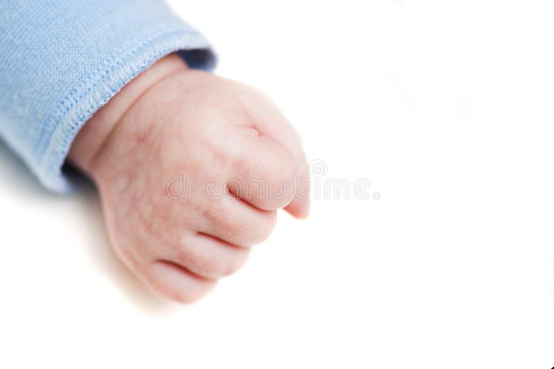 Close up of a child`s fist on white background. Clenched fist - hand of child, baby power. New born baby hand.  stock images