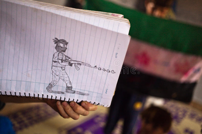 Close up of childs sketch of a soldier in Atmeh,Syria. stock photo