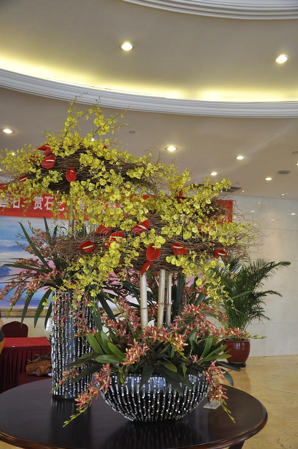 Chinese floral ornament in a luxury Hotel Lobby from Beijing China stock images