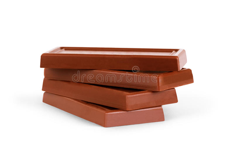 Close up a chocolate bar on white background.  royalty free stock image