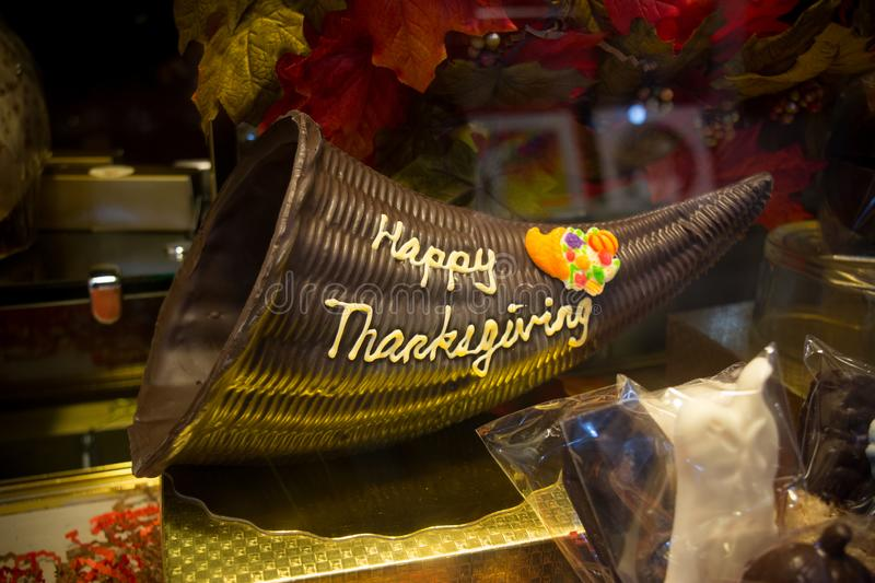 Close Up of Chocolate Decoration during the Thanksgiving Celebration. On Blur Background royalty free stock photography