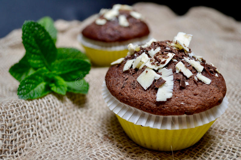 Chocolate Muffins on a Rustic Burlap Sack. royalty free stock images