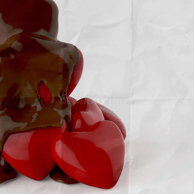 Close up chocolate syrup leaking over heart shape symbol. On crumpled paper background vector illustration