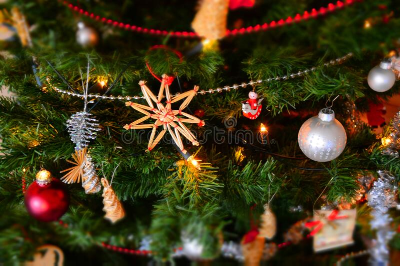 Close-up of Christmas Decoration Hanging on Tree royalty free stock image