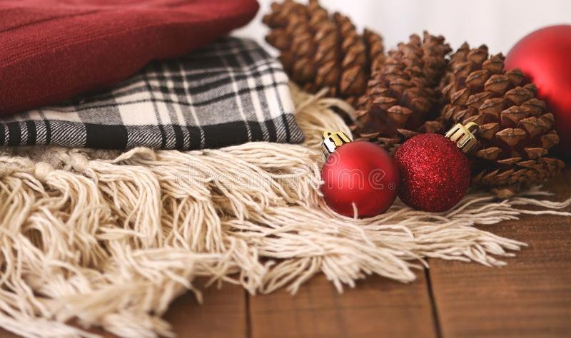 Close-up of Christmas Decorations on Table stock photos