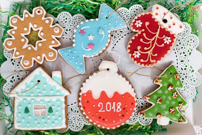 Close up of Christmas gingerbread set. Different colorful cookie figures seals, star, snowflake, candy, mitten, house royalty free stock images