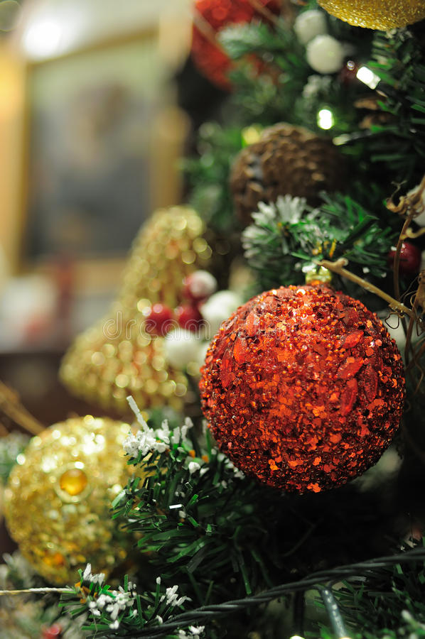 Close up of christmas ornaments royalty free stock photo